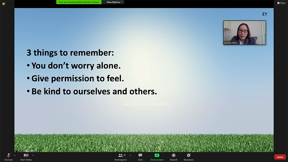 """Three of the guiding principles demonstrated in the theatre skit, """"You don't worry alone, give permission to feel, and be kind to ourselves and others"""". Screenshot via Zoom."""