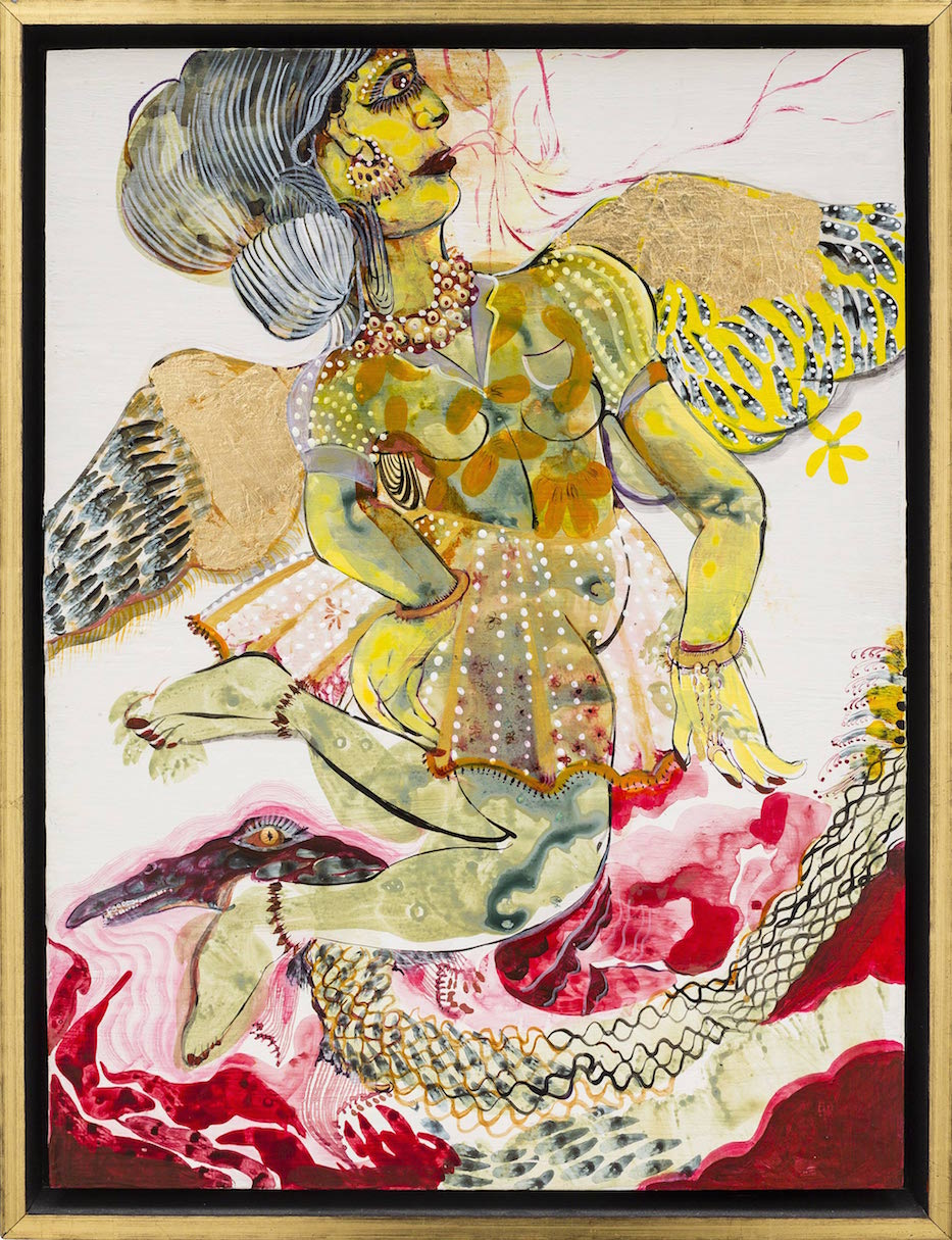 Rina Banerjee, Upon first Myth and empirical observation the hero, her angel leaps in cry, opens the moon to urge on a rain that may cleanse all the sweat of her jealous man, 2013–20, acrylic, ink, and gold leaf on panel, © Rina Banerjee