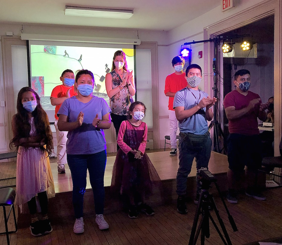 Sandra Gumuzzo and the children interviewed for the project thank the audience