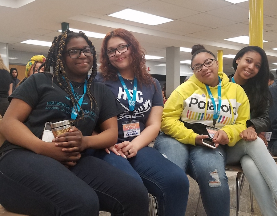 Workshop leaders (juniors Ashantee Terry, Sam Perez, Orianna Martin, and Simone Henderson) at the Fly Choices Day kick off